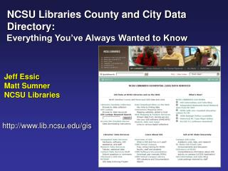 NCSU Libraries County and City Data   Directory:   Everything You've Always Wanted to Know