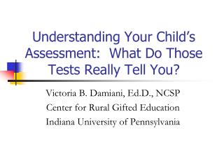Understanding Your Child's Assessment:  What Do Those Tests Really Tell You?