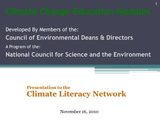 Presentation to the Climate Literacy Network