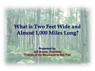 What is Two Feet Wide and Almost 1,000 Miles Long?