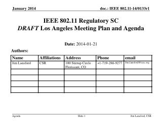 IEEE 802.11 Regulatory SC DRAFT  Los Angeles Meeting Plan and Agenda