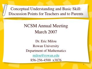 Conceptual Understanding and Basic Skill: Discussion Points for Teachers and to Parents
