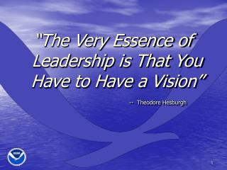 """""""The Very Essence of Leadership is That You Have to Have a Vision"""""""