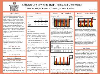 Children Use Vowels to Help Them Spell Consonants       Heather Hayes, Rebecca Treiman,  Brett Kessler