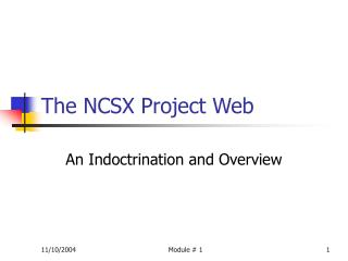 The NCSX Project Web