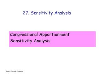 27. Sensitivity Analysis