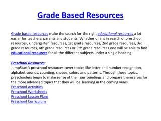 Grade Based Resources