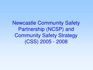 Newcastle Community Safety Partnership (NCSP) and Community Safety Strategy (CSS) 2005 - 2008