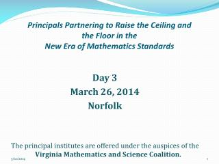 Principals Partnering to Raise the Ceiling and the Floor in the  New Era of Mathematics Standards
