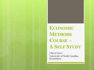 Economic Methods Course –  A Self Study