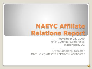 NAEYC Affiliate Relations Report