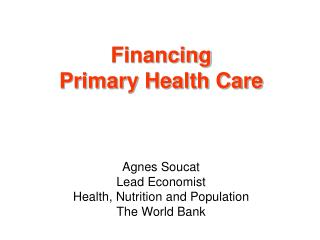 Financing  Primary Health Care