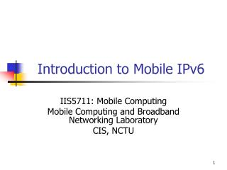 Introduction to Mobile IPv6