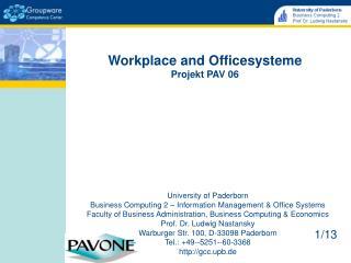 Workplace and Officesysteme Projekt PAV 06