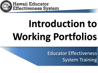 Introduction to Working Portfolios
