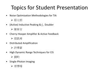 Topics for Student Presentation
