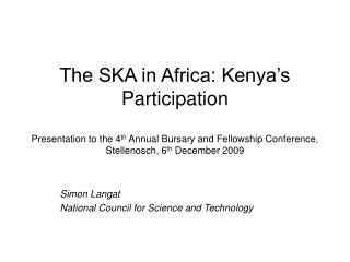 Simon Langat National Council for Science and Technology