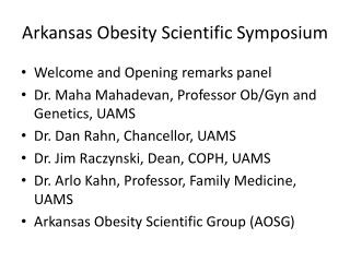 Arkansas  Obesity Scientific Symposium