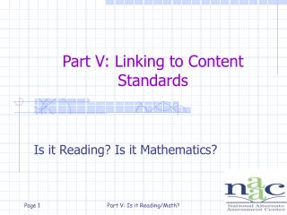 Part V: Linking to Content Standards