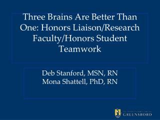 Three Brains Are Better Than One: Honors Liaison/Research  Faculty/Honors Student  Teamwork