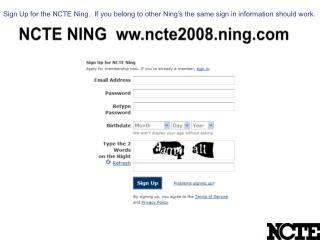 NCTE NING  ww.ncte2008.ning