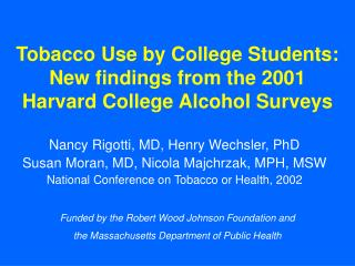Tobacco Use by College Students: New findings from the 2001 Harvard College Alcohol Surveys