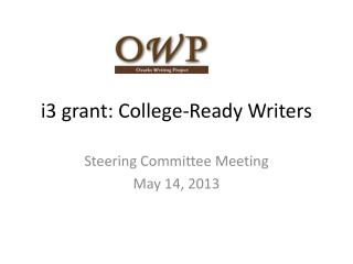 i3 grant: College-Ready Writers
