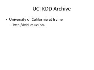 UCI KDD Archive