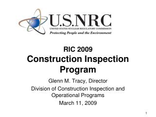 RIC 2009 Construction Inspection Program