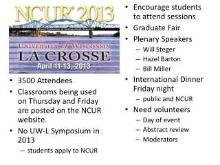 3500 Attendees Classrooms being used on Thursday and Friday  are posted on the NCUR website.