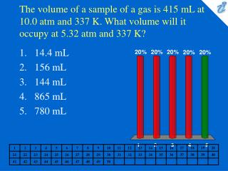 The volume of a sample of a gas is 415 mL at 10.0 atm and 337 K. What volume will it occupy at 5.32 atm and 337 K