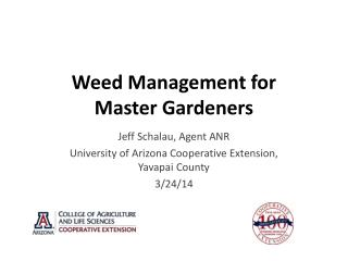 Weed Management for Master Gardeners