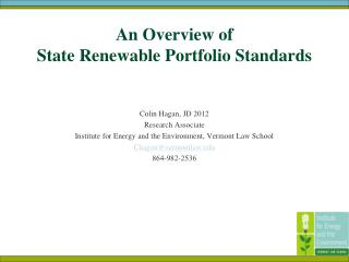 An Overview of  State Renewable Portfolio Standards