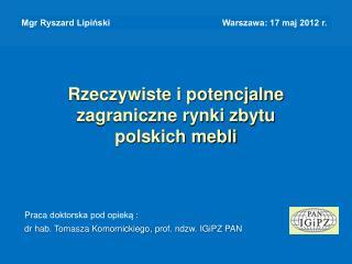 Rzeczywiste i potencjalne  zagraniczne rynki zbytu  polskich mebli