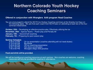 Northern Colorado Youth Hockey Coaching Seminars