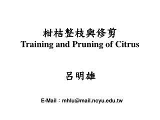 柑桔整枝與修剪 Training and Pruning of Citrus