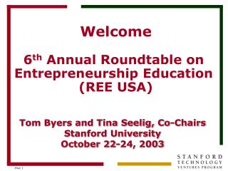Welcome 6 th  Annual Roundtable on  Entrepreneurship Education  (REE USA)