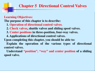Chapter 5  Directional Control Valves