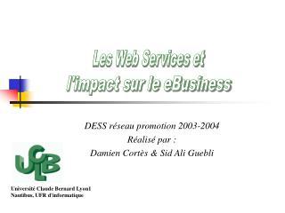 DESS réseau promotion 2003-2004 Réalisé par : Damien Cortès & Sid Ali Guebli