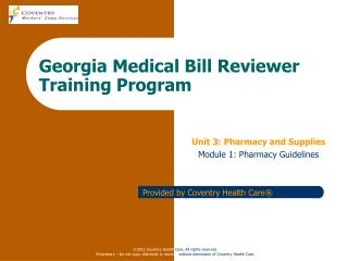 Georgia Medical Bill Reviewer Training Program