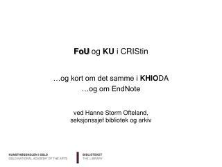 FoU  og  KU  i  CRIStin