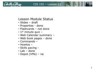 CIS 192 – Lesson 13