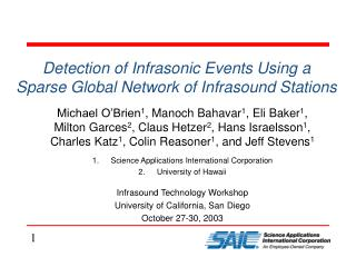 Detection of Infrasonic Events Using a Sparse Global Network of Infrasound Stations