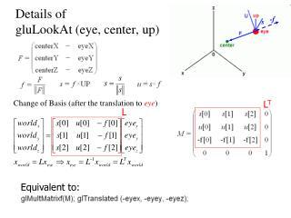 Details of  gluLookAt (eye, center, up)