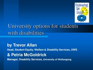 University options for students with disabilities