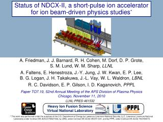 Status of NDCX-II, a short-pulse ion accelerator for ion beam-driven physics studies *