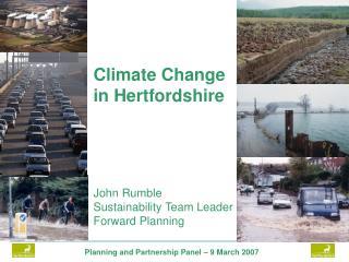 John Rumble Sustainability Team Leader Forward Planning