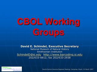 CBOL Working Groups