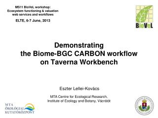Demonstrating the Biome-BGC CARBON workflow  on Taverna Workbench
