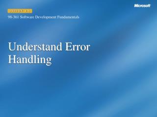 Understand Error Handling